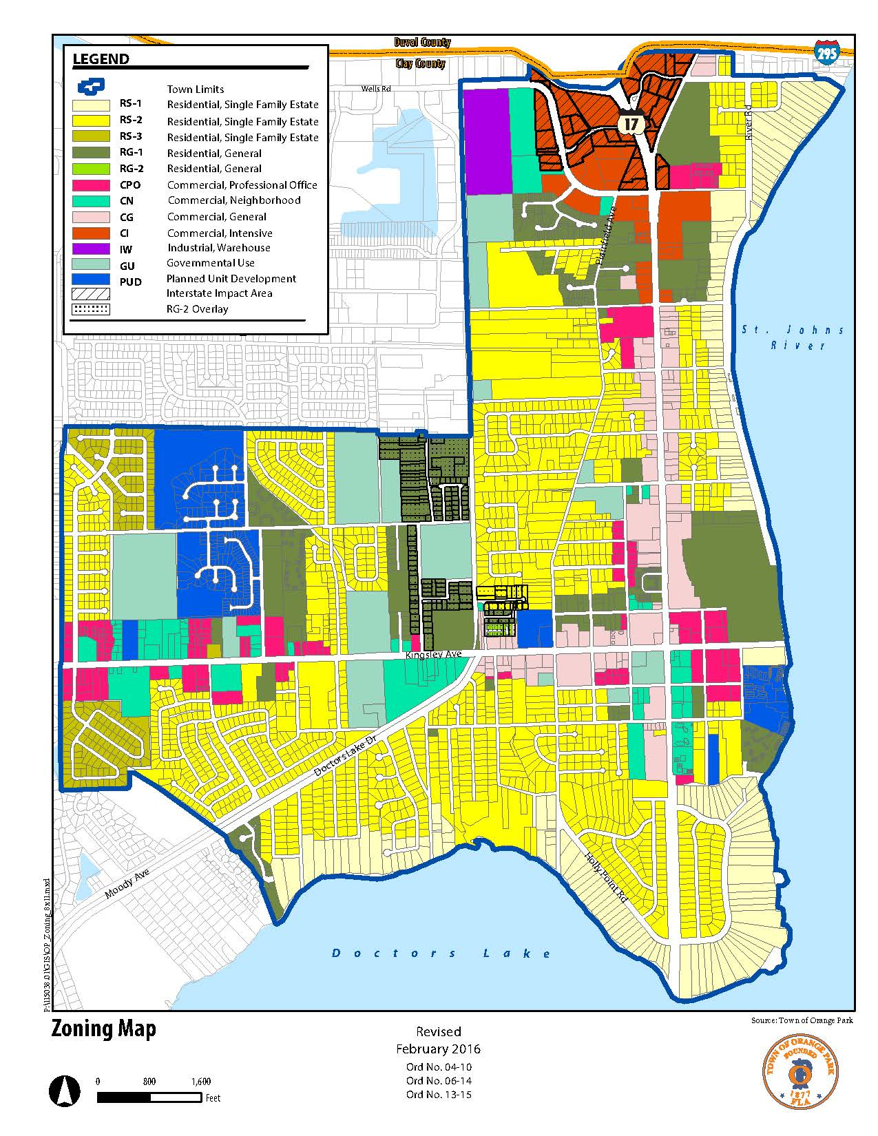 Map Of Florida Towns.Planning And Zoning Town Of Orange Park