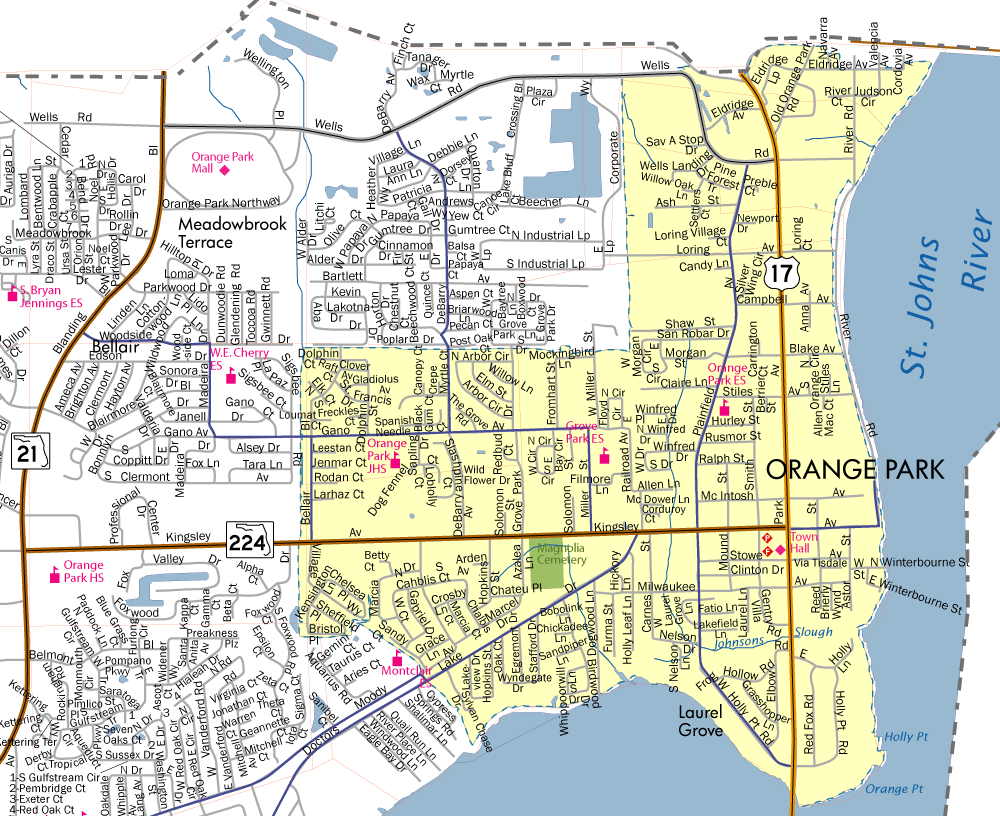 Map Of Cities And Towns In Florida.Town Limits Map Town Of Orange Park